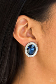 Paparazzi Only FAME In Town - Blue Gem - White Rhinestones - CLIP ON - Earrings
