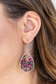Paparazzi Cash or Crystal Marquise Rhinestones - Silver Teardrop Earrings