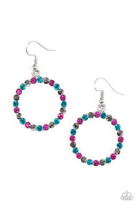 Paparazzi Bubblicious Multi Pink Blue Hematite Earrings