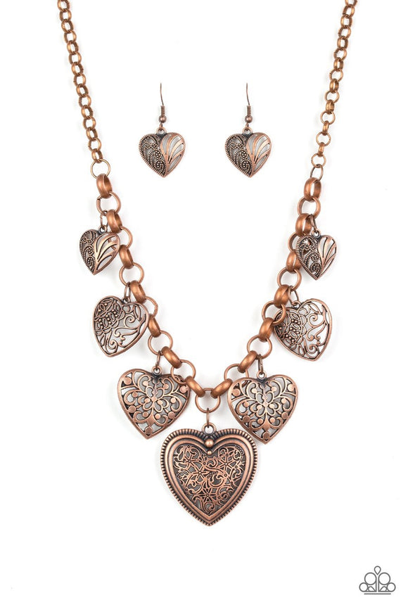Paparazzi Love Lockets - Copper - Filigree Hearts - Necklace and matching Earrings