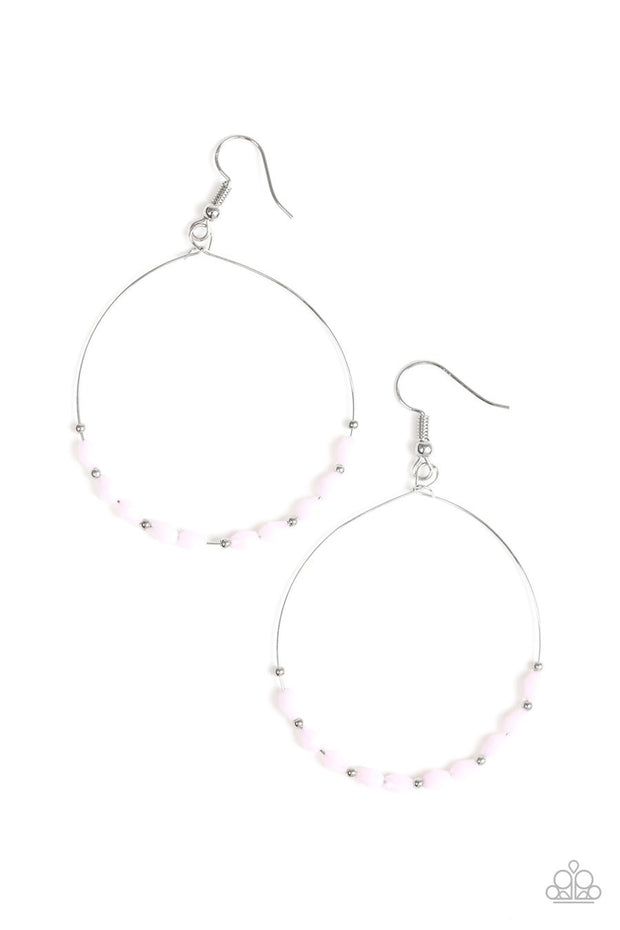 Paparazzi Prize Winning Sparkle - Pink Beads - Silver Hoop Earrings - Glitzygals5dollarbling Paparazzi Boutique