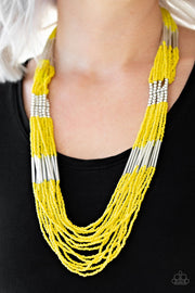 Let It BEAD Yellow Seed Bead Necklace - Paparazzi Accessories Necklaces - Glitzygals5dollarbling Paparazzi Boutique