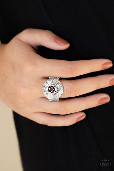 Paparazzi Blooming Beach Party - Red Rhinestone - Silver Flower Ring - Glitzygals5dollarbling Paparazzi Boutique