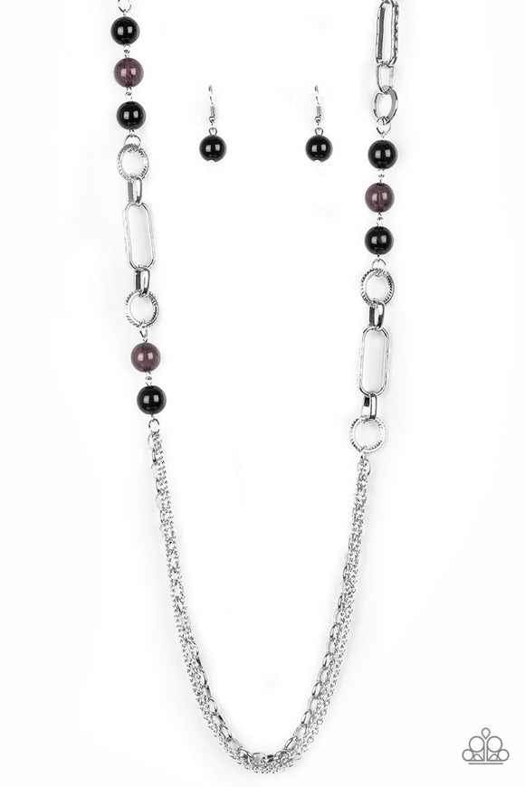 Paparazzi CACHE Me Out - Black Beads - Silver Chain Necklace and matching Earrings