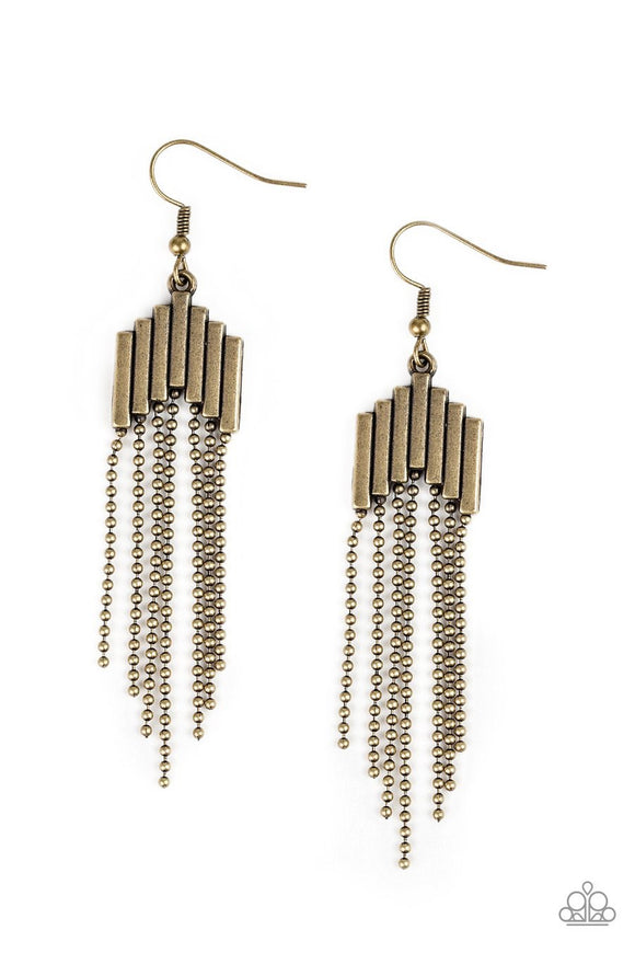 Paparazzi Radically Retro - Brass - Rods and Ball Chains - Earrings