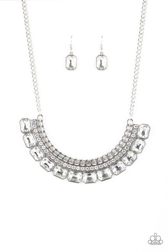 Paparazzi Killer Knockout - White Rhinestones - Emerald Cut Gems - Necklace and matching Earrings