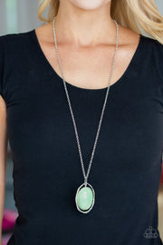 Paparazzi Harbor Harmony - Green Bead - Silver Shimmery Hammered Textures - Necklace & Earrings