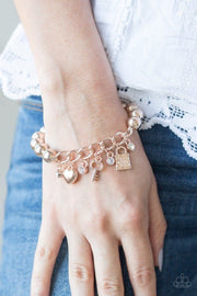 "Paparazzi ""Feelin' Flirtatious"" Rose Gold Bracelet - Glitzygals5dollarbling Paparazzi Boutique"