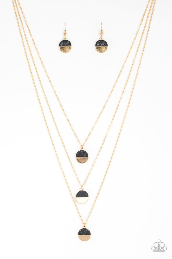 Paparazzi Rural Reconstruction - Black - Stone Accents - Trio of Gold Discs - Gold Necklace and matching Earrings