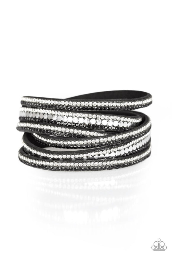 Paparazzi Rock Star Attitude - Black - and White Rhinestones - Double Wrap - Bracelet