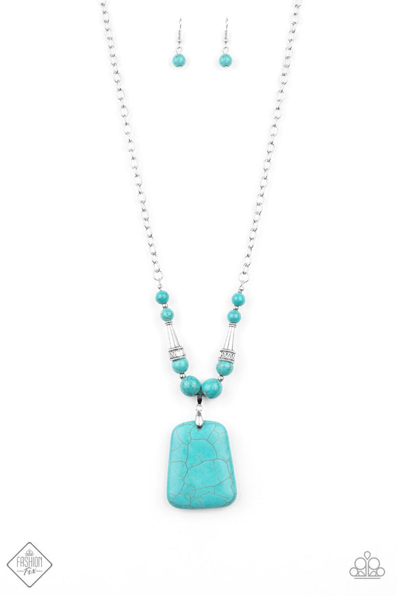 Paparazzi Sandstone Oasis Blue - Turquoise Stone - Necklace - Fashion Fix Exclusive December 2019