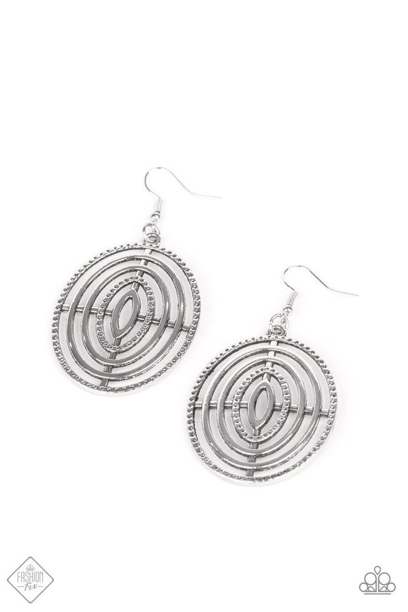Paparazzi Totally On Target - Silver - Earrings - Fashion Fix Exclusive February 2020