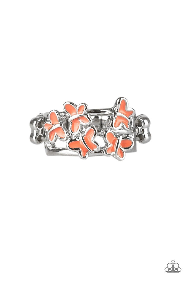 Paparazzi Fluttering Fashion - Orange / Coral - Butterfly Silver Ring - Glitzygals5dollarbling Paparazzi Boutique