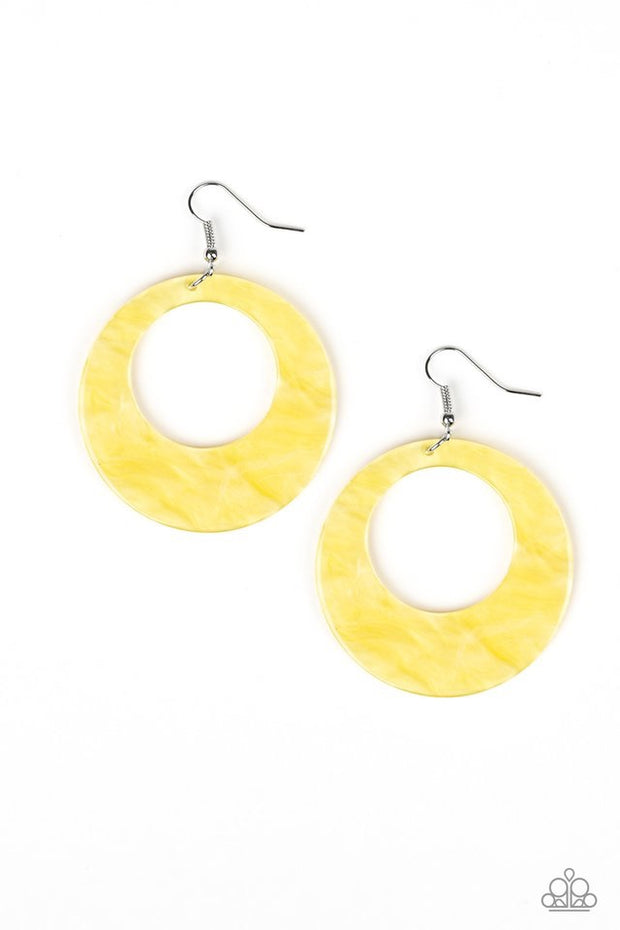 Paparazzi Tropical Trailblazer - Yellow Earrings - Glitzygals5dollarbling Paparazzi Boutique