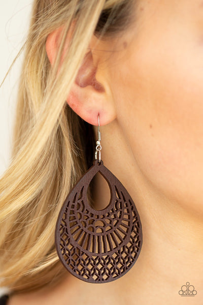 Paparazzi Shoulda Coulda WOODa - Brown Wooden Earrings - Glitzygals5dollarbling Paparazzi Boutique