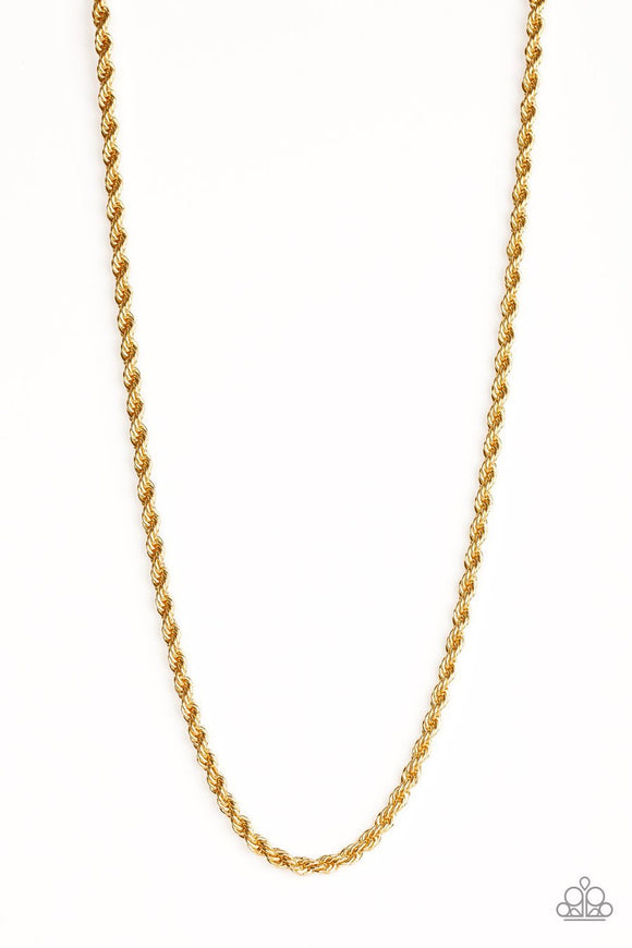 Paparazzi Double Dribble - Gold - Thick Rope Chain Necklace - Men's Collection