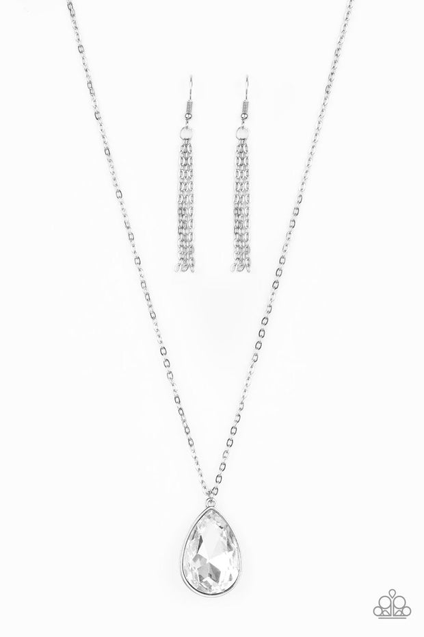 Paparazzi So Obvious - White Teardrop Gem - Glamorous Necklace - Life of the Party Exclusive November 2019 - Glitzygals5dollarbling Paparazzi Boutique