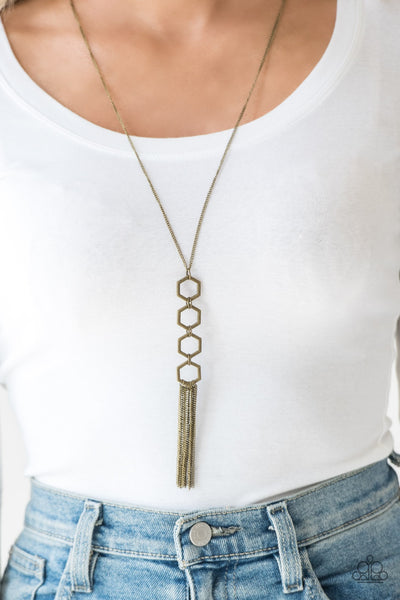 Paparazzi Ready, Set, GEO! Brass Necklace - Glitzygals5dollarbling Paparazzi Boutique