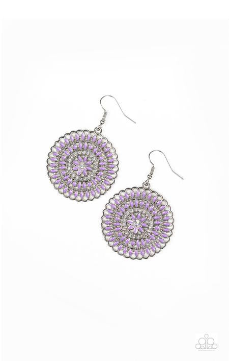 Paparazzi PINWHEEL and Deal - Purple - White Rhinestones - Silver Earrings - Glitzygals5dollarbling Paparazzi Boutique