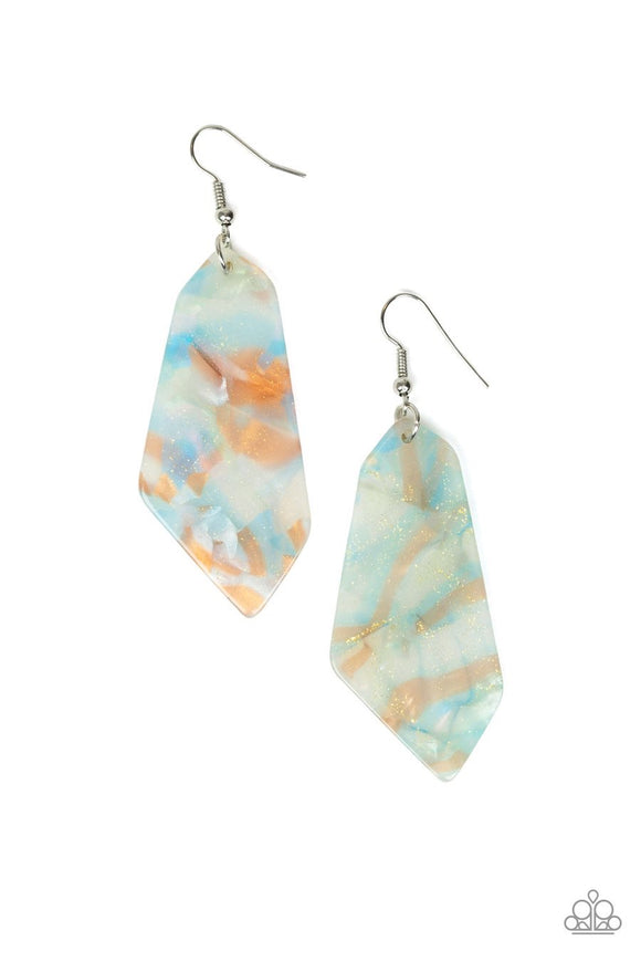 Paparazzi Walking On WATERCOLORS - Blue - Watercolor Acrylic - Earrings