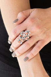 Paparazzi Accessories ~ Climbing Gardens - Orange Floral Ring - Glitzygals5dollarbling Paparazzi Boutique