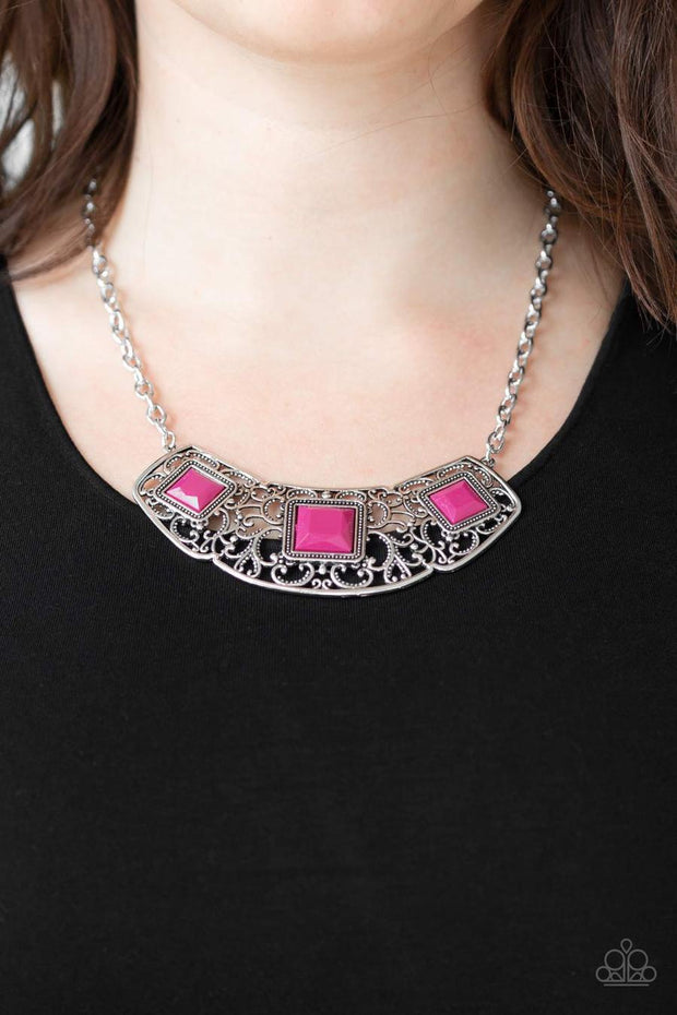 Paparazzi Feeling Inde-PENDANT - Pink Beads - Silver Filigree - Necklace and matching Earrings - Glitzygals5dollarbling Paparazzi Boutique