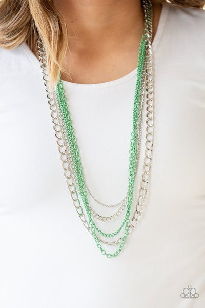 Paparazzi Industrial Vibrance - Green - Necklace and matching Earrings - Glitzygals5dollarbling Paparazzi Boutique