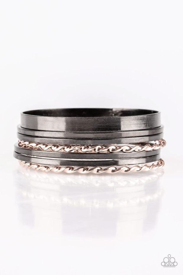 Basic Blend Multi Gunmetal and Rose Gold Bangle Bracelets - Glitzygals5dollarbling Paparazzi Boutique