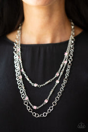Paparazzi Metro Mixer - Pink - Rhinestones - Silver Chains - Necklace & Earrings - Glitzygals5dollarbling Paparazzi Boutique