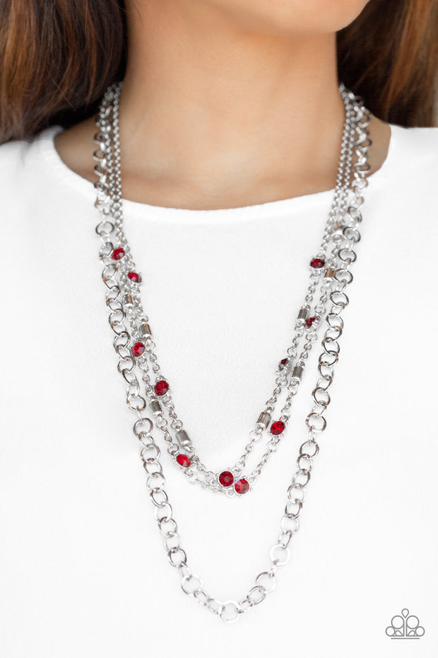 Paparazzi Metro Mix Red Necklace - Glitzygals5dollarbling Paparazzi Boutique
