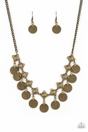 Paparazzi Walk The Plank - Brass - Coin Like Discs - Necklace & Earrings - Glitzygals5dollarbling Paparazzi Boutique