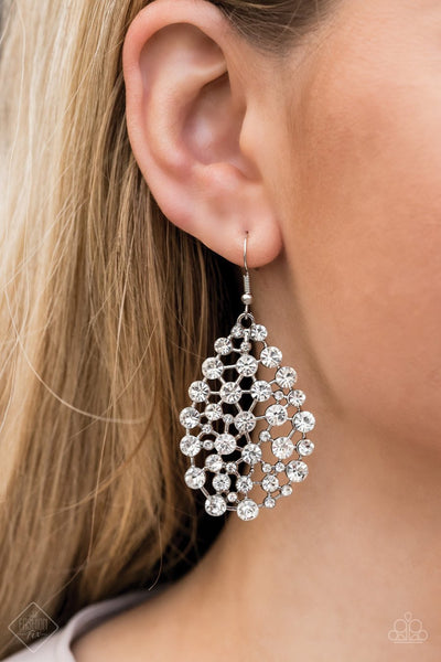 Paparazzi Start With A Bang - White - Rhinestones - Blinding Teardrop Earrings - Fashion Fix Exclusive February 2020 - Glitzygals5dollarbling Paparazzi Boutique