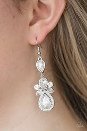 "Paparazzi ""All About Glam"" White Earrings - Glitzygals5dollarbling Paparazzi Boutique"