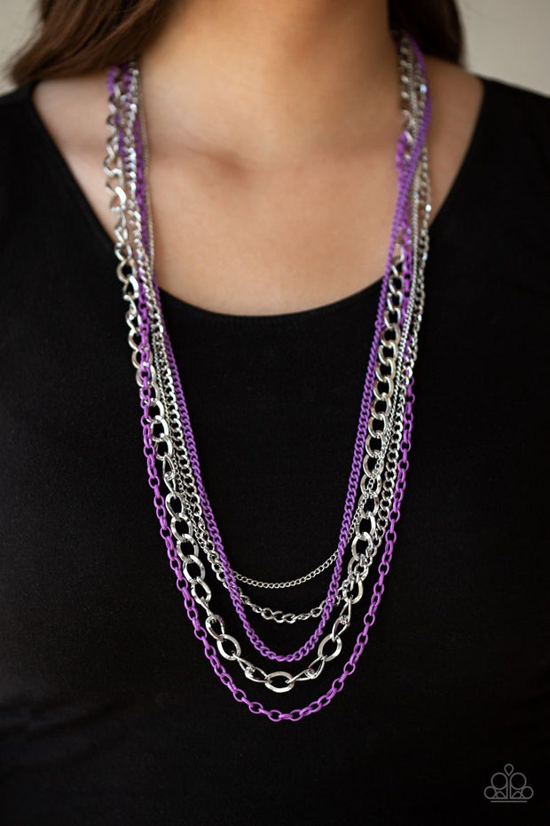 Paparazzi Industrial Vibrance - Purple - Necklace and matching Earrings - Glitzygals5dollarbling Paparazzi Boutique