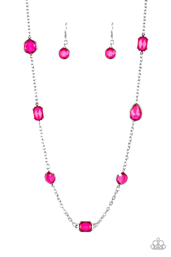Paparazzi Glassy Glamorous - Pink Gems - Silver Necklace and matching Earrings