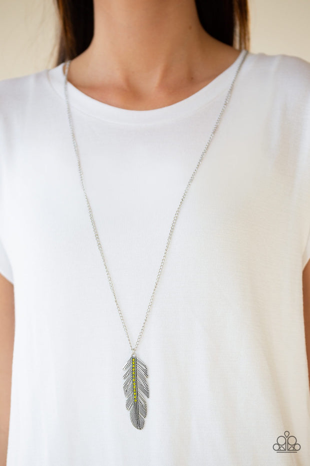 Paparazzi Sky Quest Green Feather Necklace - Glitzygals5dollarbling Paparazzi Boutique