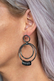 Paparazzi Retro Revolution - Black - Gunmetal Rings - Double Hoop - Post Earrings - Glitzygals5dollarbling Paparazzi Boutique