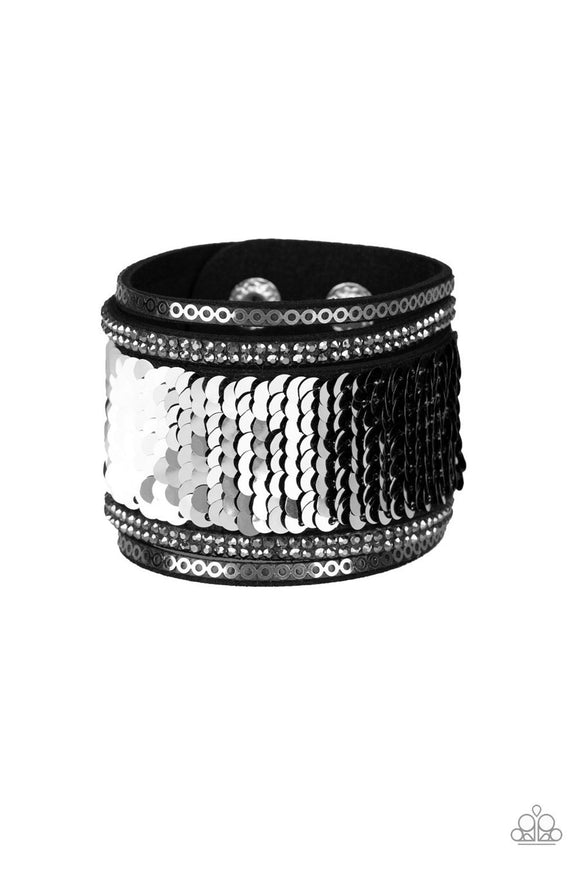 Paparazzi Heads Or MERMAID Tails - Black / Silver - Rhinestones - Black Suede Wrap / Snap Bracelet