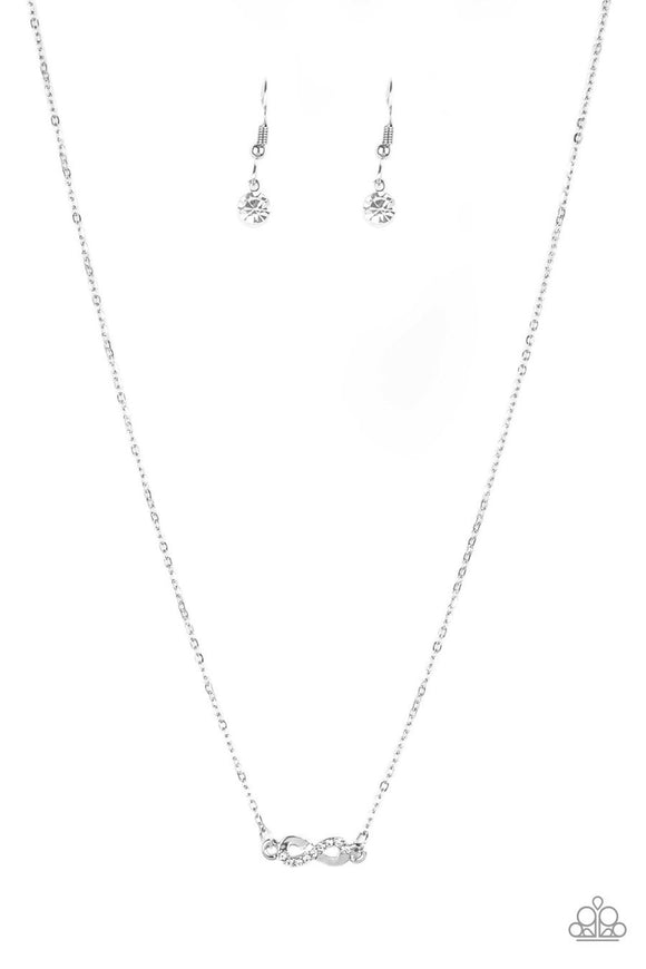 Paparazzi Always A Winner - White Rhinestones - Silver Infinity Pendant - Necklace and matching Earrings