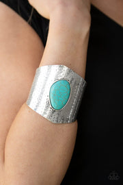 Paparazzi Casual Canyoneer - Blue Turquoise Stone - Hammered Cuff Bracelet - Life of the Party Exclusive September 2019 - Glitzygals5dollarbling Paparazzi Boutique
