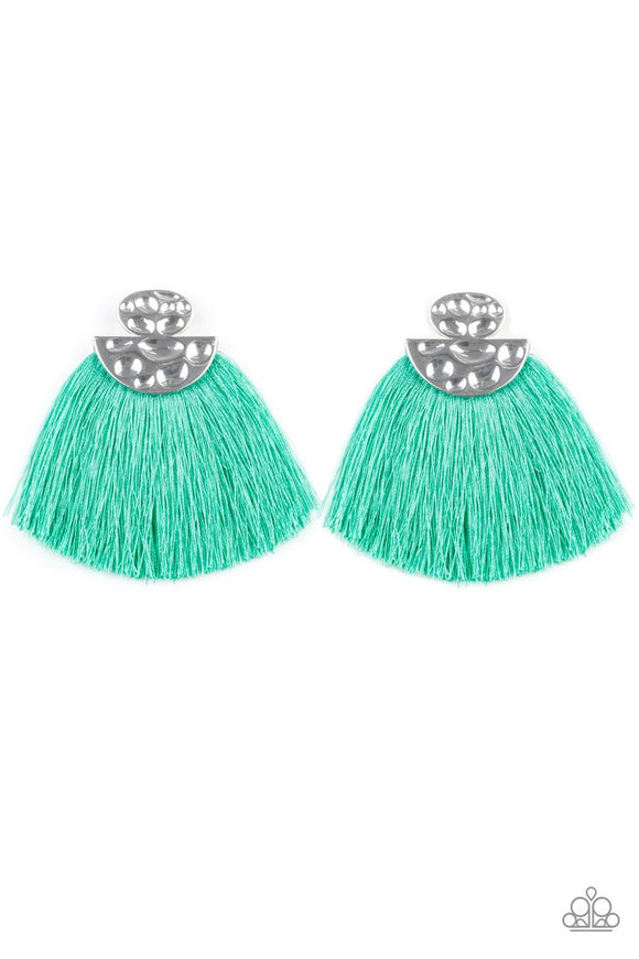 Paparazzi Make Some PLUME - Green Thread / Fringe / Tassel - Hammered Silver - Post Earrings