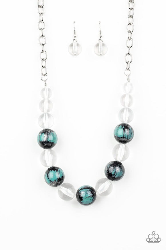 Paparazzi Torrid Tide - Blue - Necklace and matching Earrings