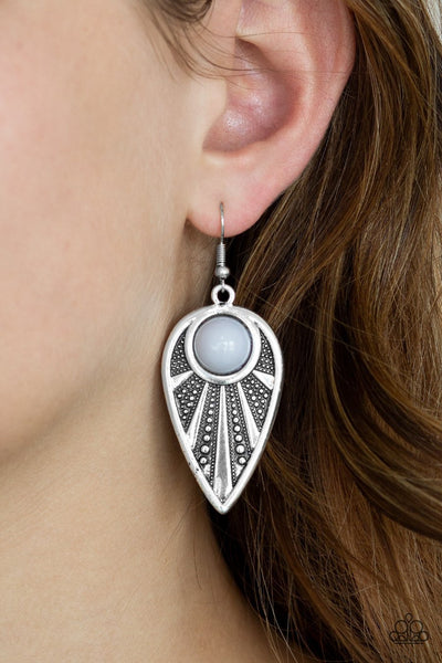 Paparazzi Take A WALKABOUT - Silver - Gray Bead - Ornate Silver Earrings