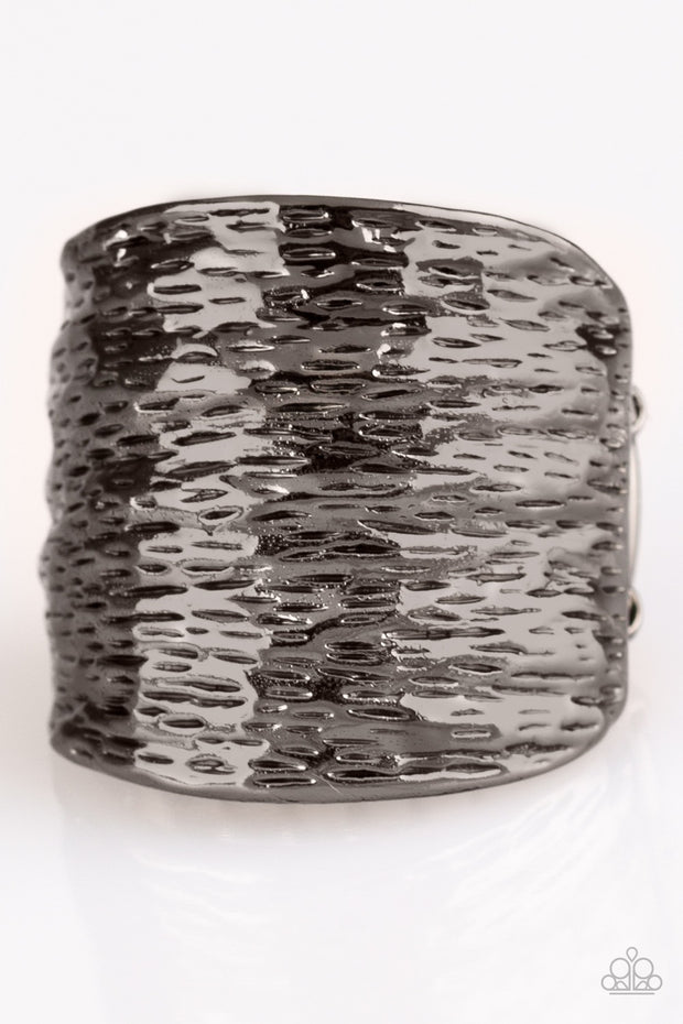 Paleo Patterns Black Gunmetal Ring - Glitzygals5dollarbling Paparazzi Boutique