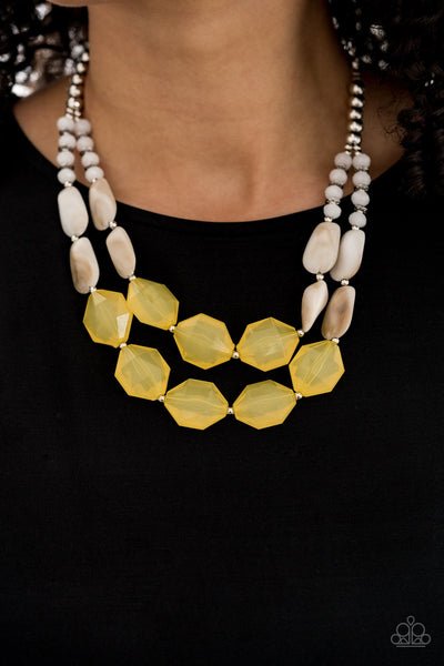 Paparazzi Summer Sunset Yellow Necklace Summer Party Pack Exclusive PREORDER