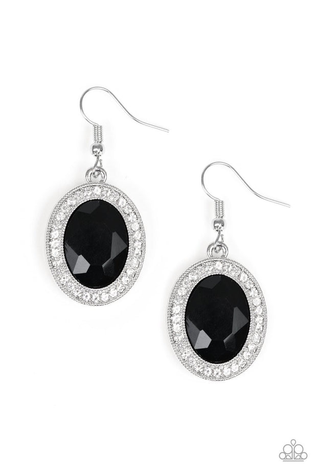 Paparazzi Only FAME In Town - Black Gem - Rhinestone Earrings - Glitzygals5dollarbling Paparazzi Boutique