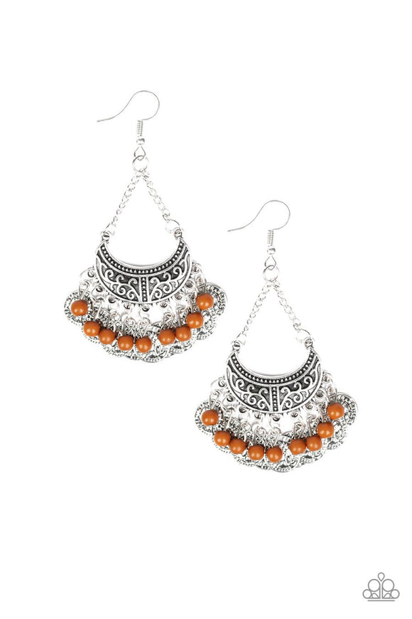 Paparazzi Sahara Treasure - Brown Beads - Ornate Silver Fringe - Earrings