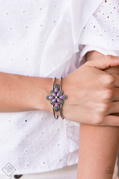 Paparazzi Go With The FLORALS - Purple Hinged Bracelet Fashion Fix Exclusive