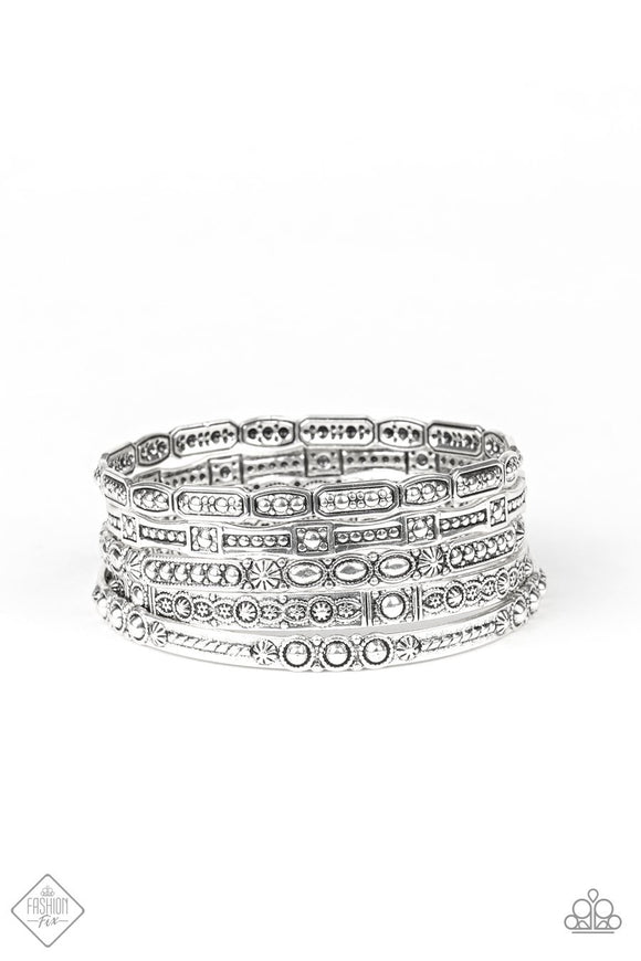 Paparazzi Tribal Tycoon - Silver - Bangles - Set of 5 Bracelets - Fashion Fix Exclusive November 2019