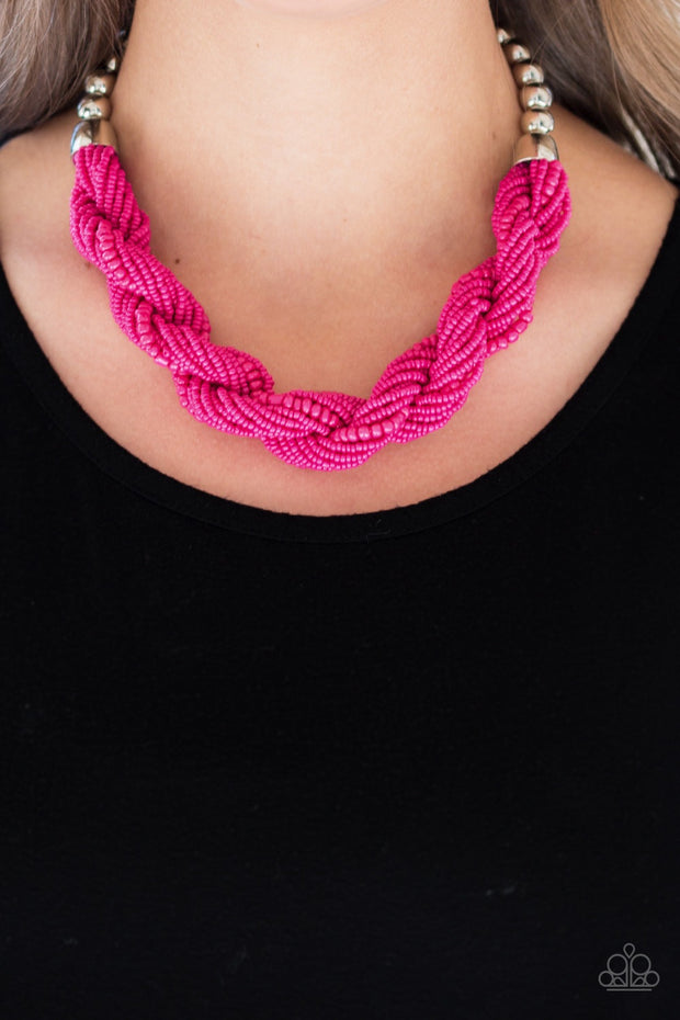 Savannah Surfin - Pink Paparazzi Seed Bead Necklace - Glitzygals5dollarbling Paparazzi Boutique
